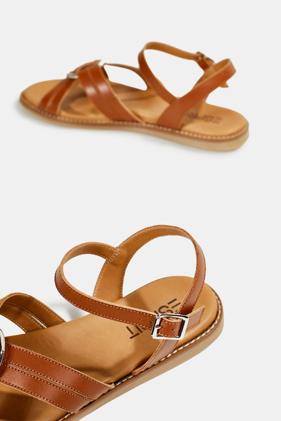 Sandals with crossed-over straps, CARAMEL, detail image number 5