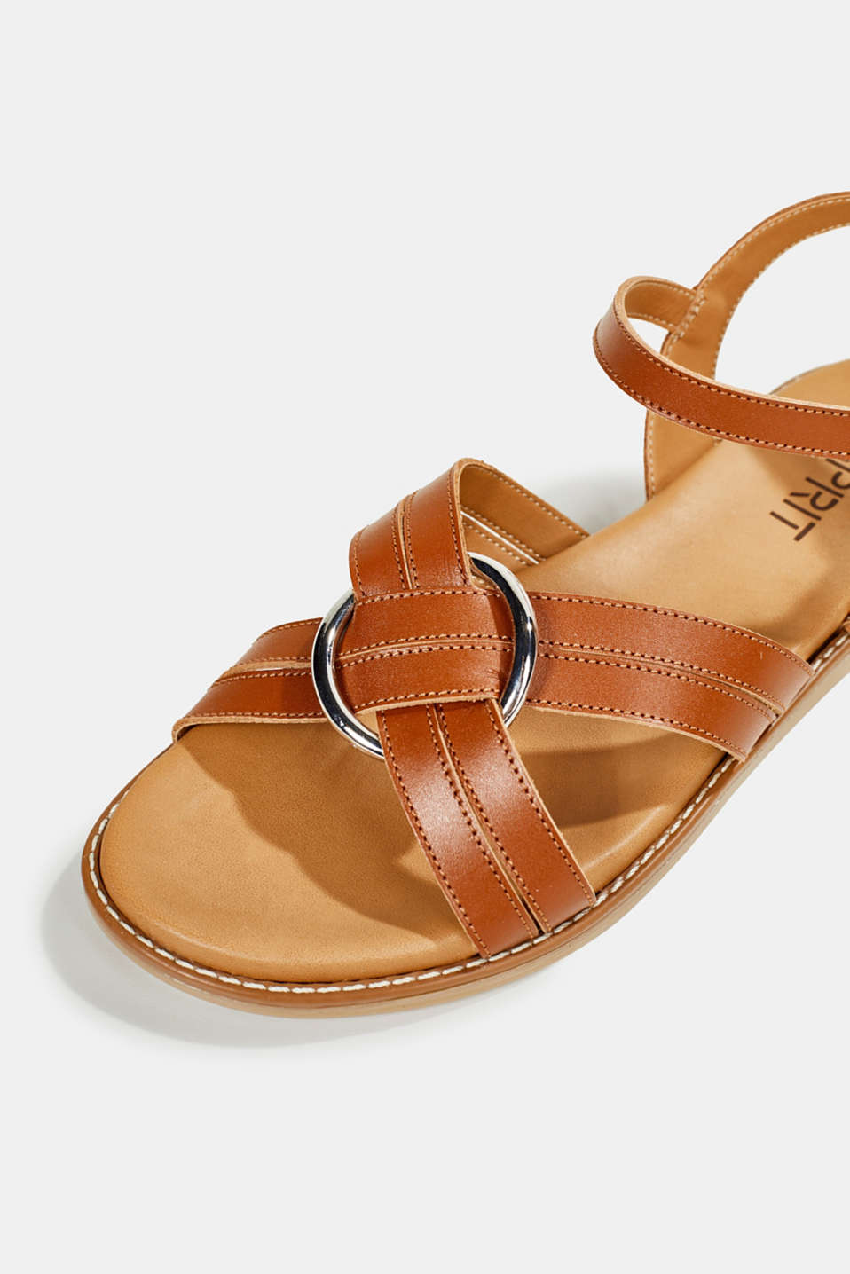 Sandals with crossed-over straps, CARAMEL, detail image number 4