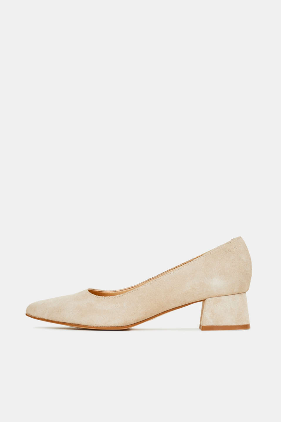 Leather court shoes with a block heel, BEIGE, detail image number 0