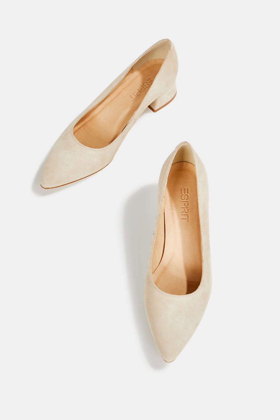 Leather court shoes with a block heel, BEIGE, detail image number 1