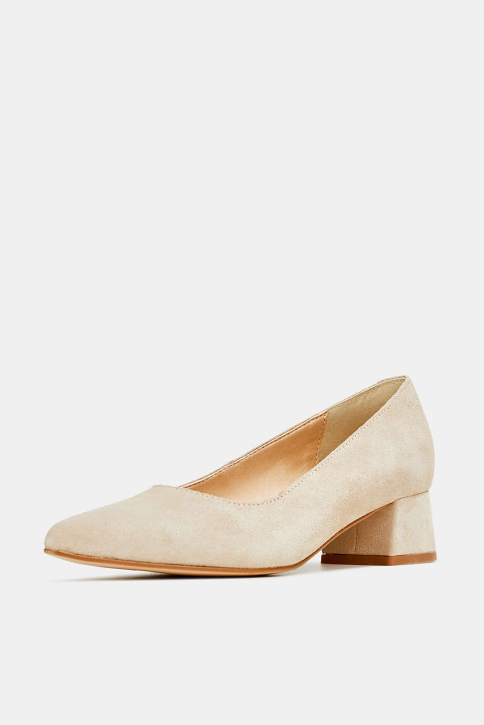 Leather court shoes with a block heel, BEIGE, detail image number 2