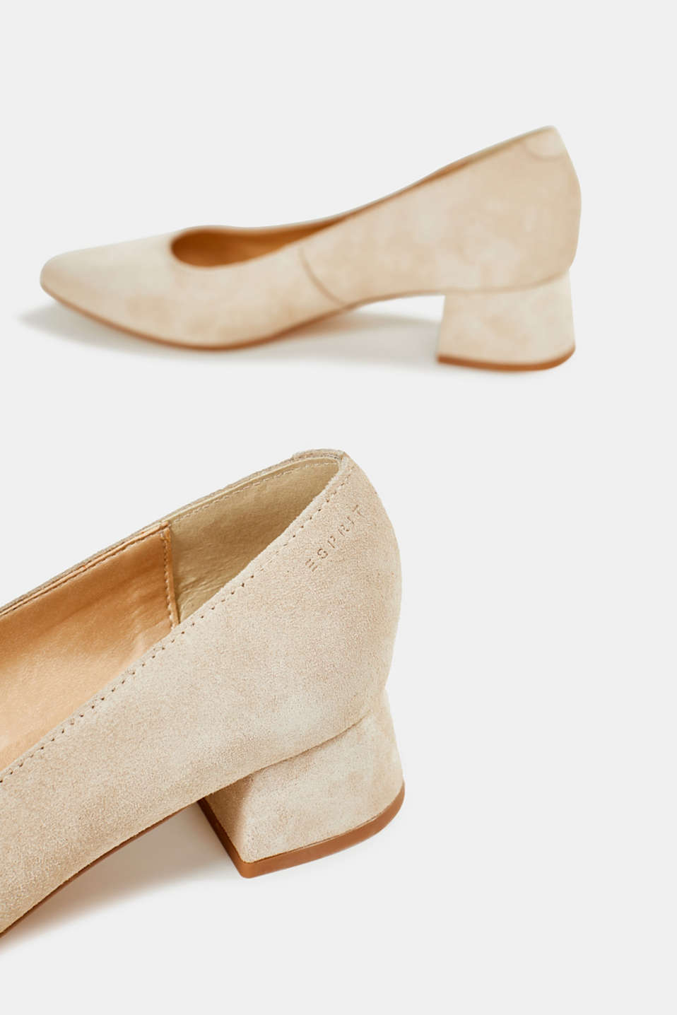Leather court shoes with a block heel, BEIGE, detail image number 5
