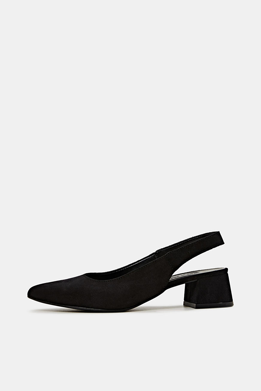 Leather sling back court shoes
