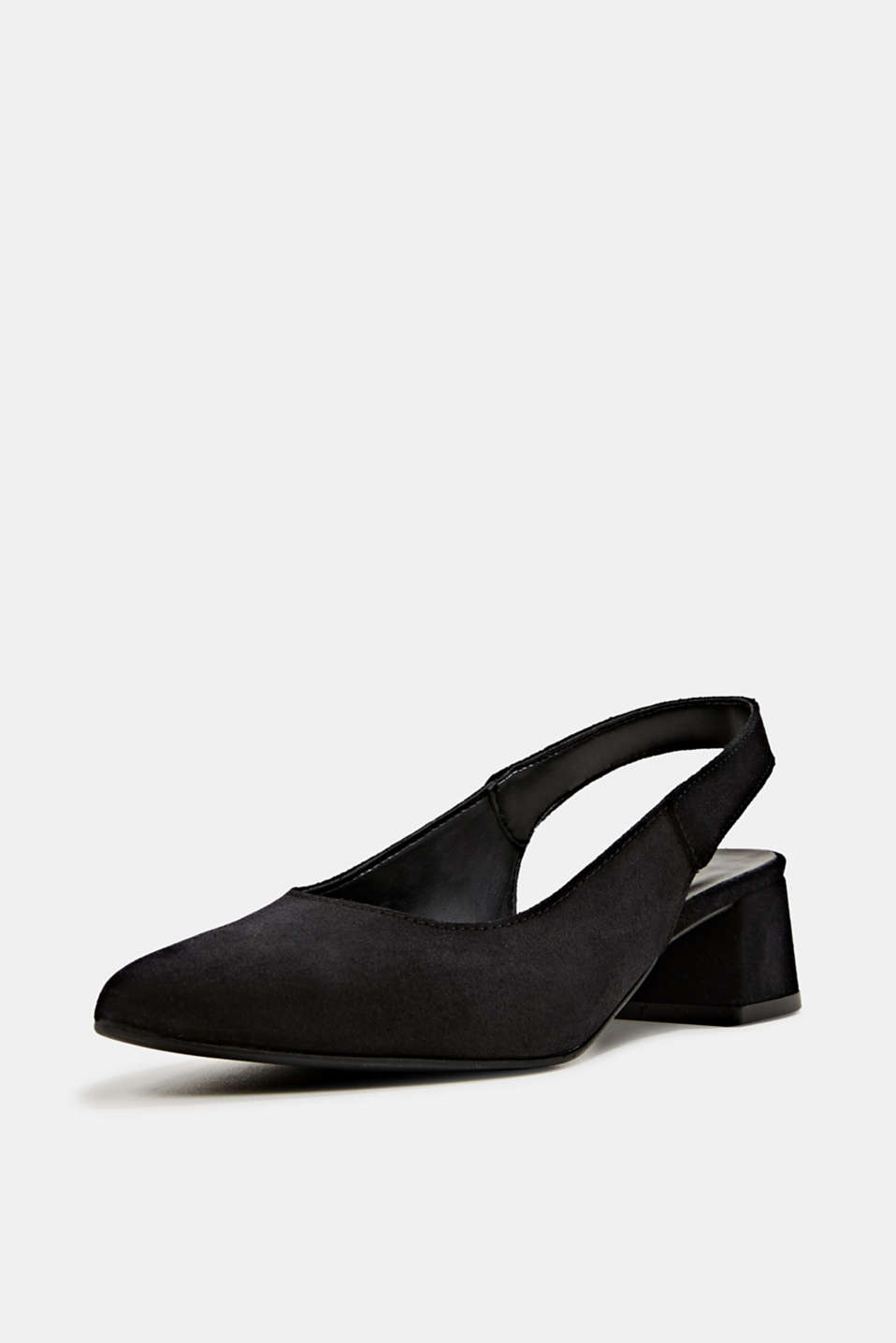 Leather sling back court shoes, BLACK, detail image number 1