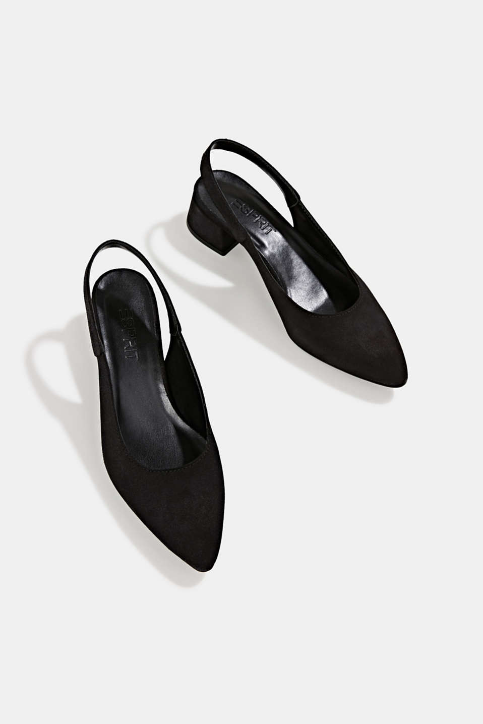 Leather sling back court shoes, BLACK, detail image number 6