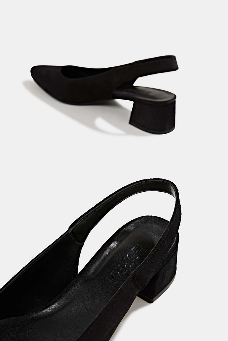 Leather sling back court shoes, BLACK, detail image number 3
