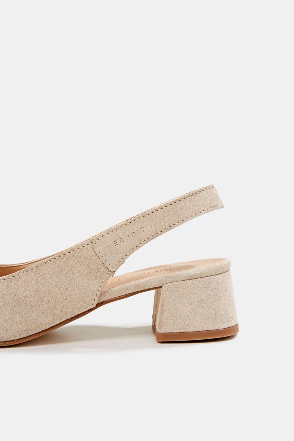 Leather sling back court shoes, BEIGE, detail image number 5