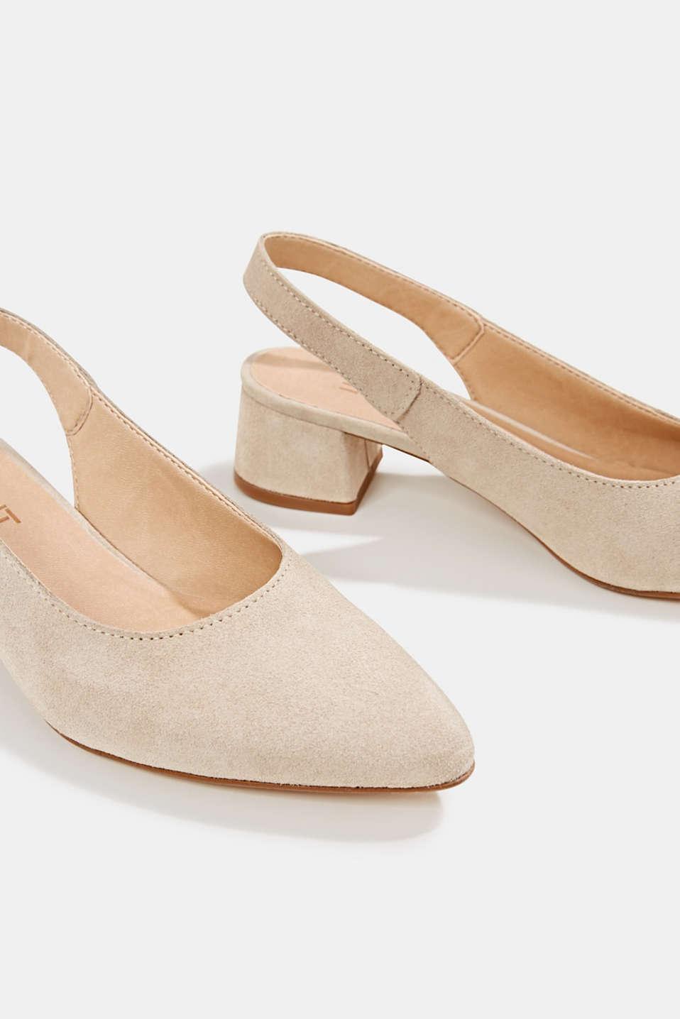 Leather sling back court shoes, BEIGE, detail image number 4