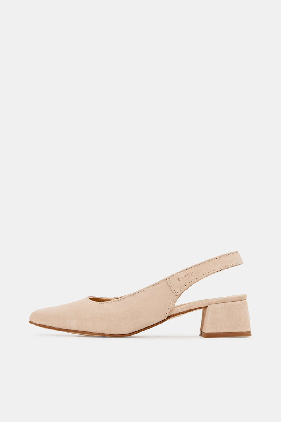 Leather sling back court shoes, NUDE, detail image number 0