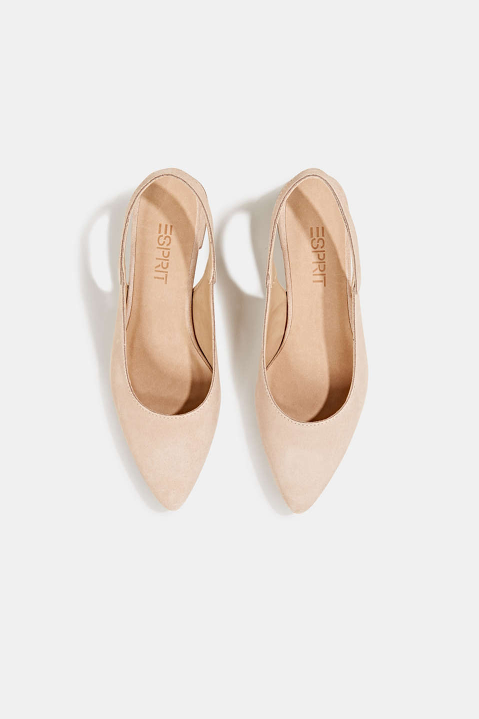 Leather sling back court shoes, NUDE, detail image number 1