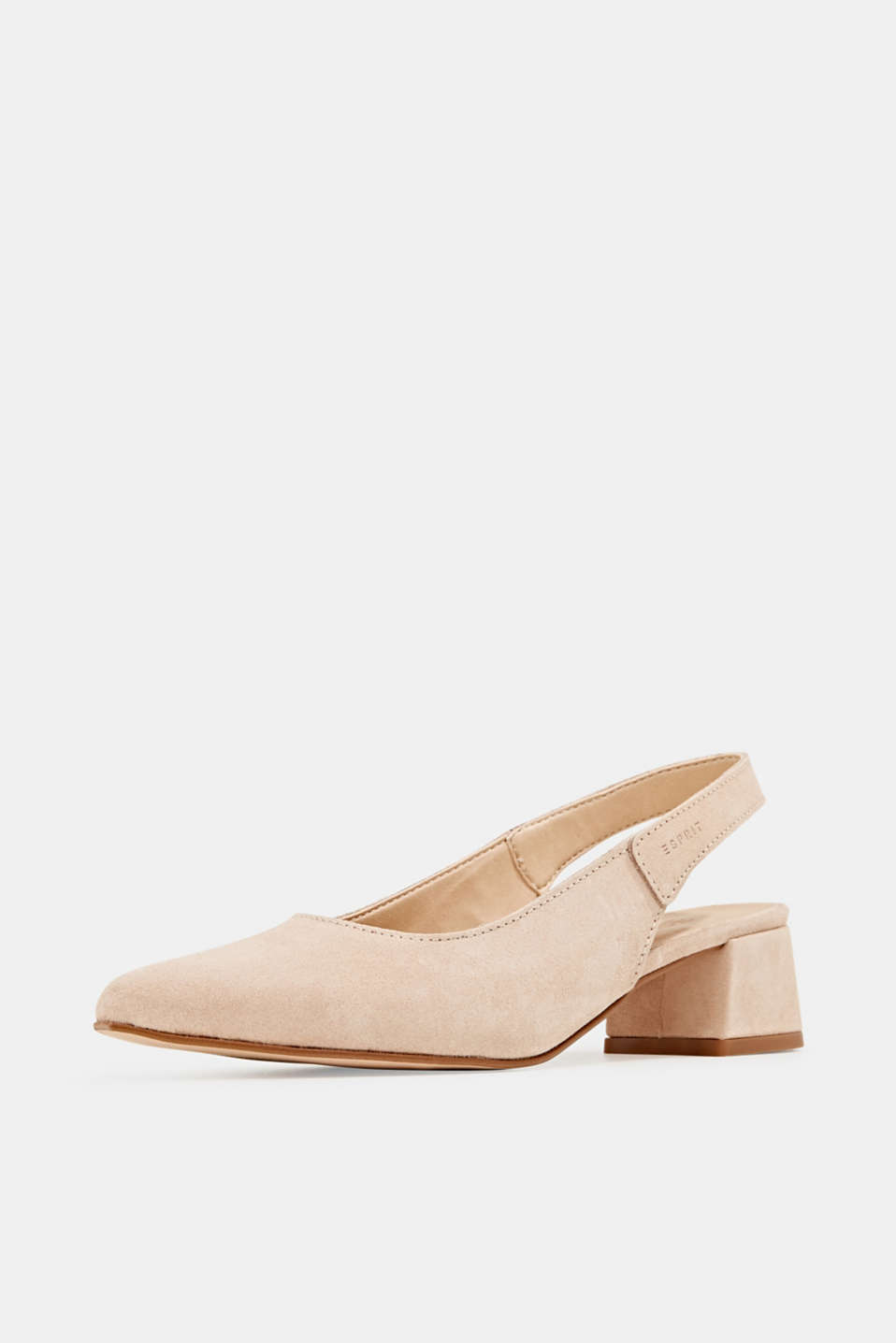 Leather sling back court shoes, NUDE, detail image number 2