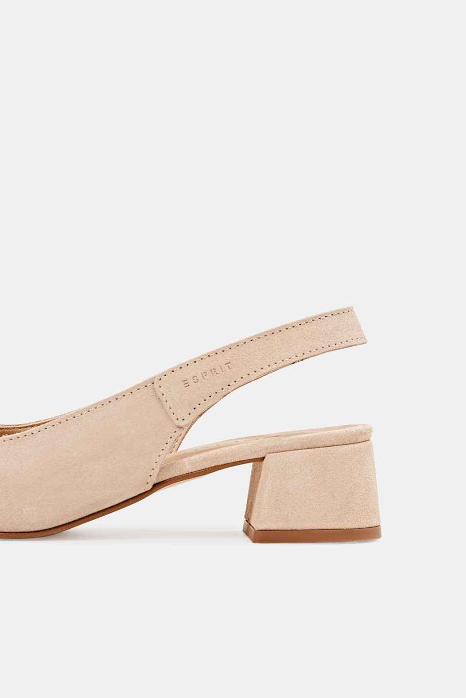 Leather sling back court shoes, NUDE, detail image number 6