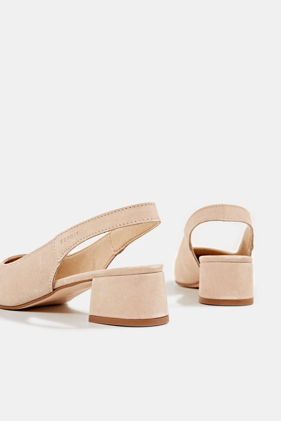 Leather sling back court shoes, NUDE, detail image number 4