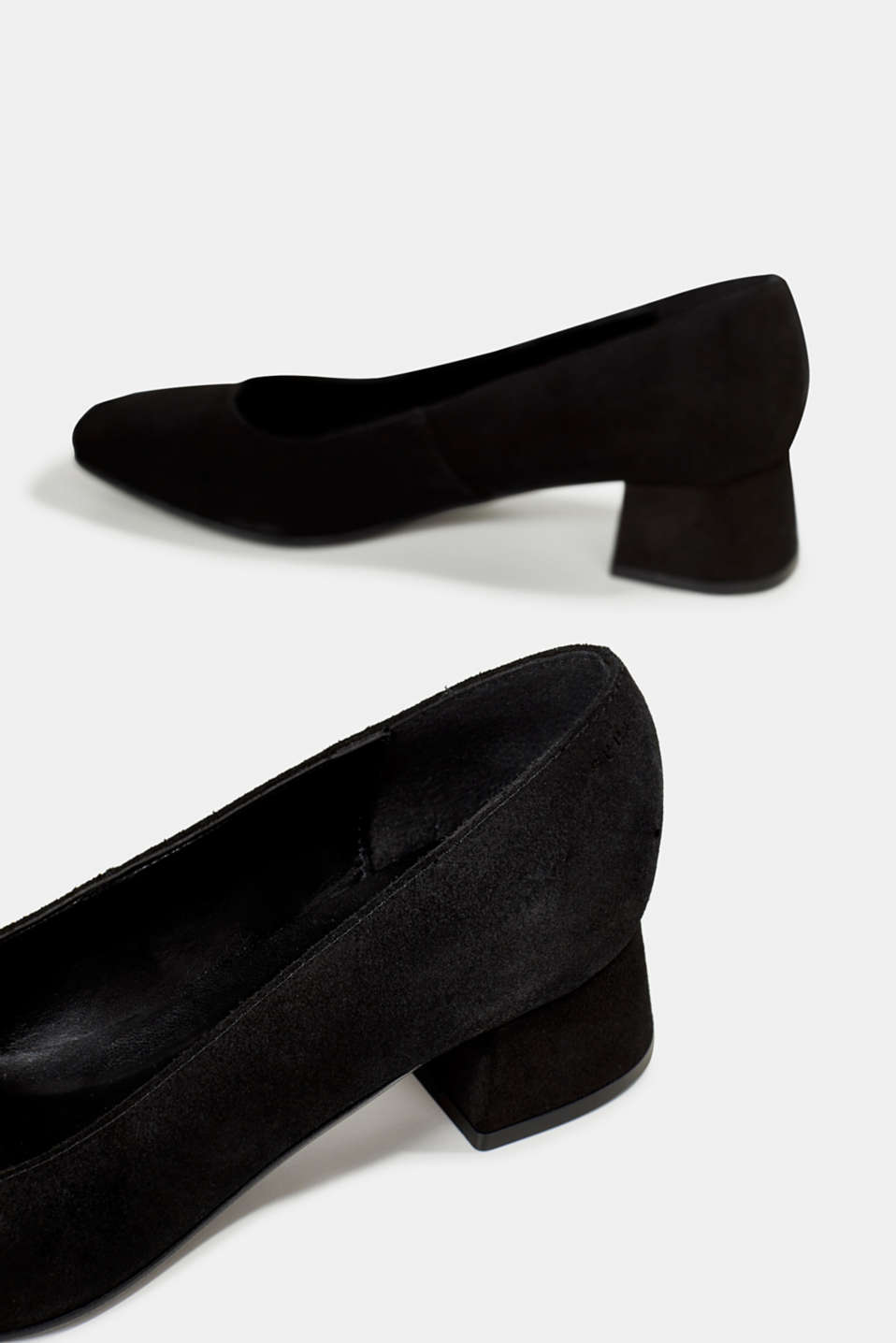 Square court shoes made of suede, BLACK, detail image number 5