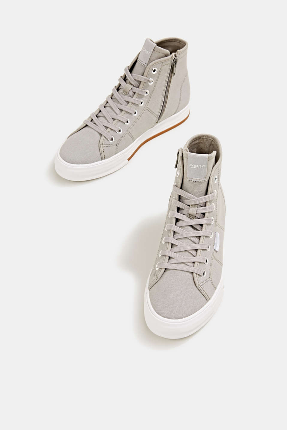 High-top cotton trainer, MEDIUM GREY, detail image number 1