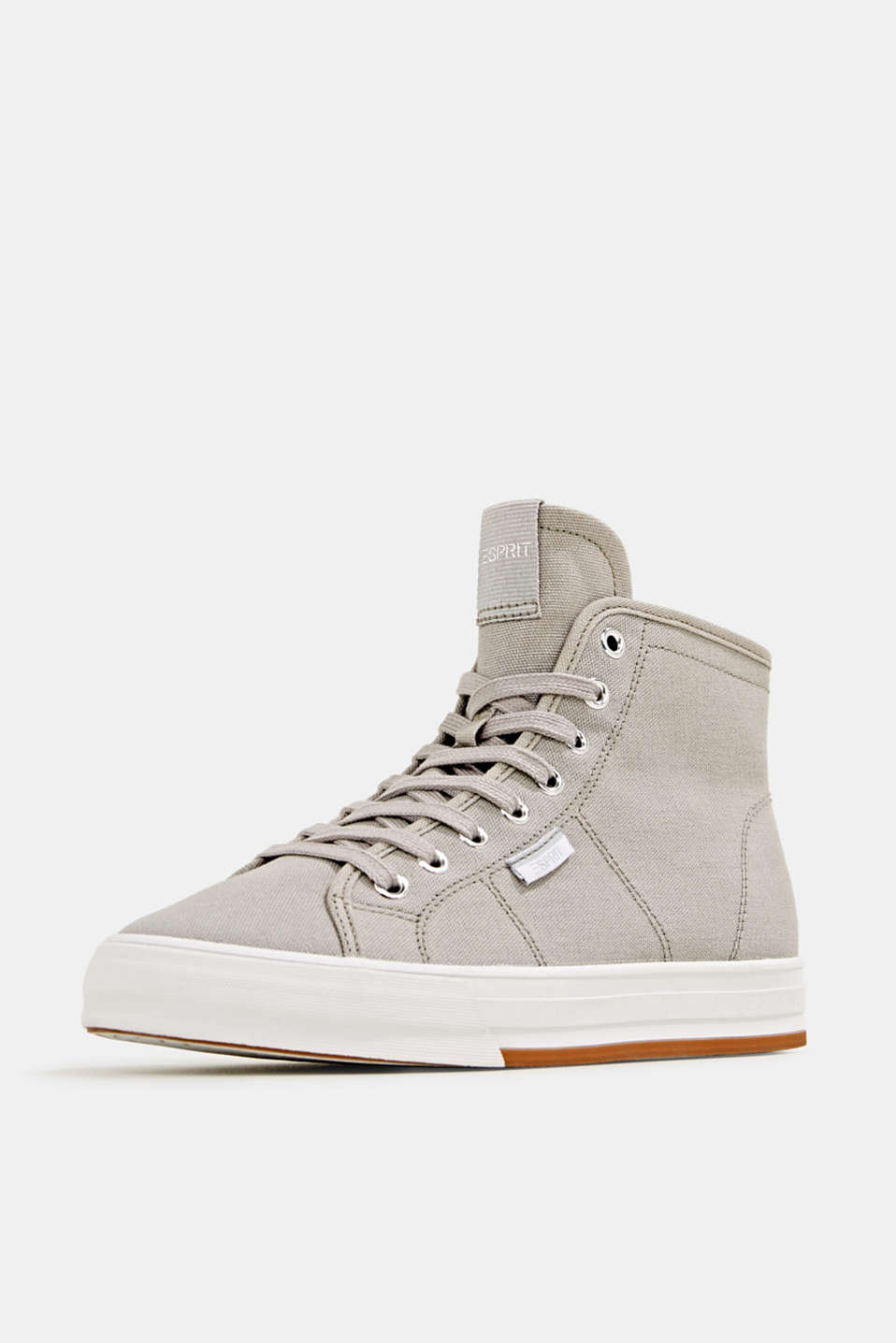High-top cotton trainer, MEDIUM GREY, detail image number 2