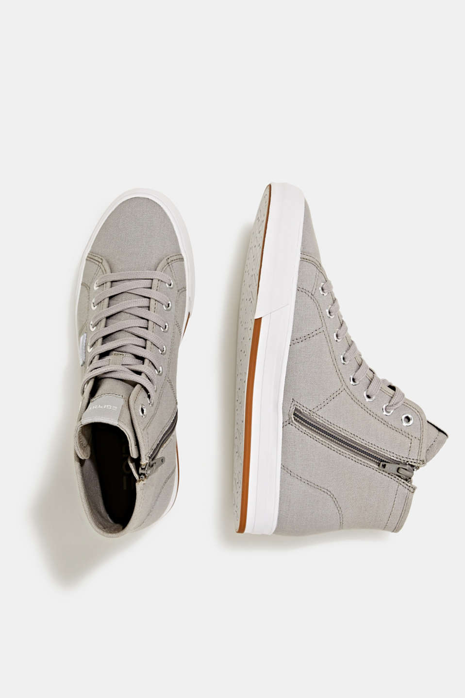 High-top cotton trainer, MEDIUM GREY, detail image number 4