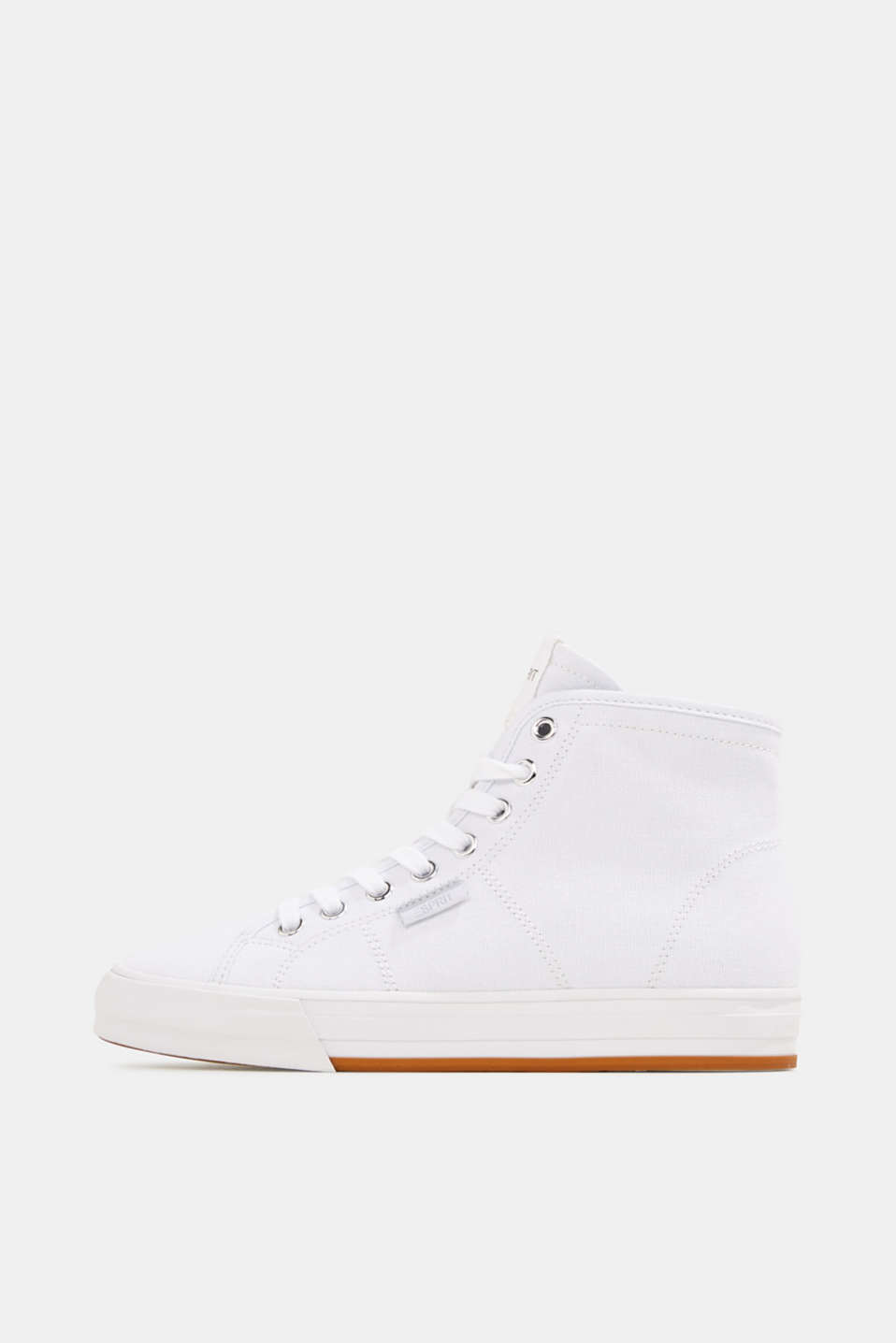 High-top cotton trainer, WHITE, detail image number 0