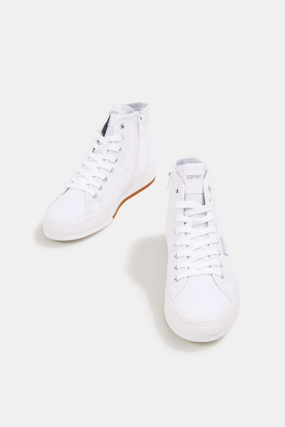 High-top cotton trainer, WHITE, detail image number 1
