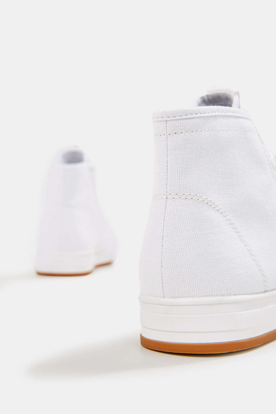 High-top cotton trainer, WHITE, detail image number 5
