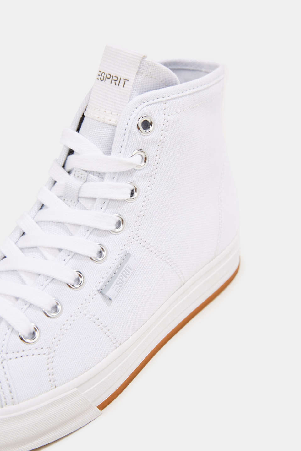 High-top cotton trainer, WHITE, detail image number 4