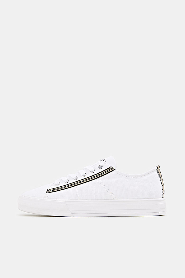 Canvas trainers, 100% cotton, WHITE, detail image number 0