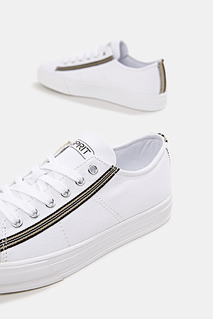 Canvas trainers, 100% cotton, WHITE, detail image number 6