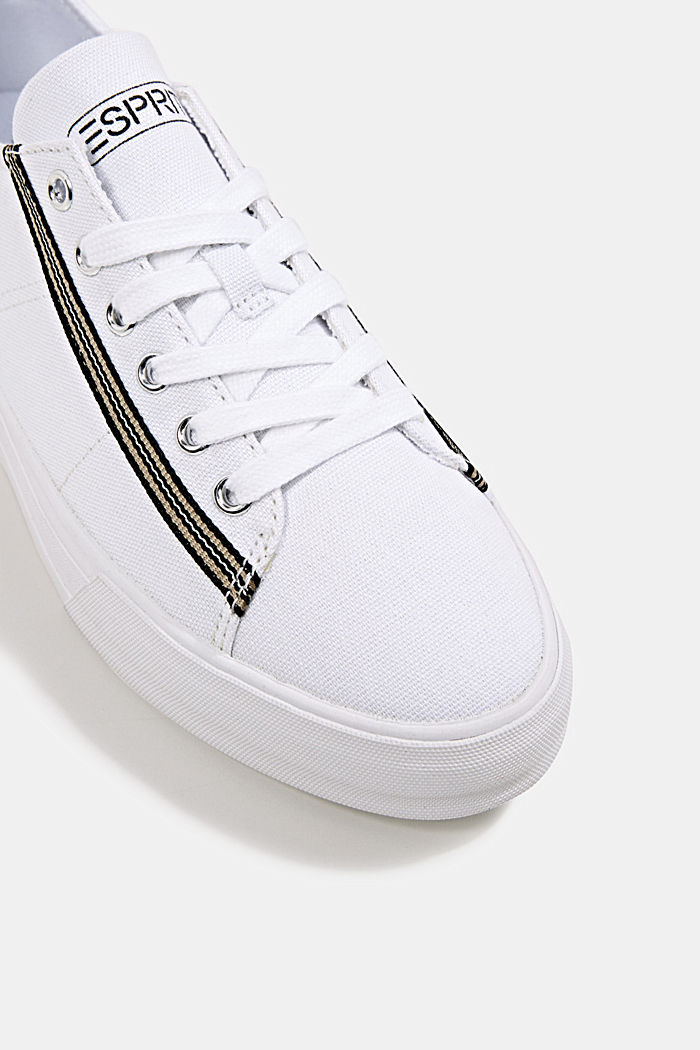 Canvas trainers, 100% cotton, WHITE, detail image number 4