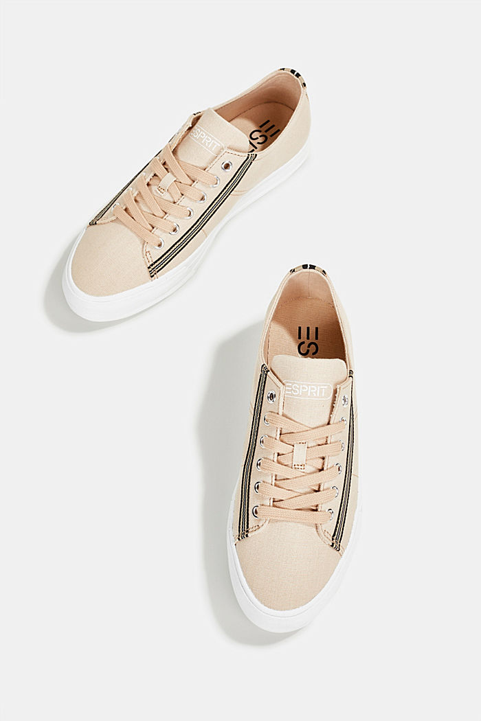 Canvas trainers, 100% cotton, SAND, detail image number 1