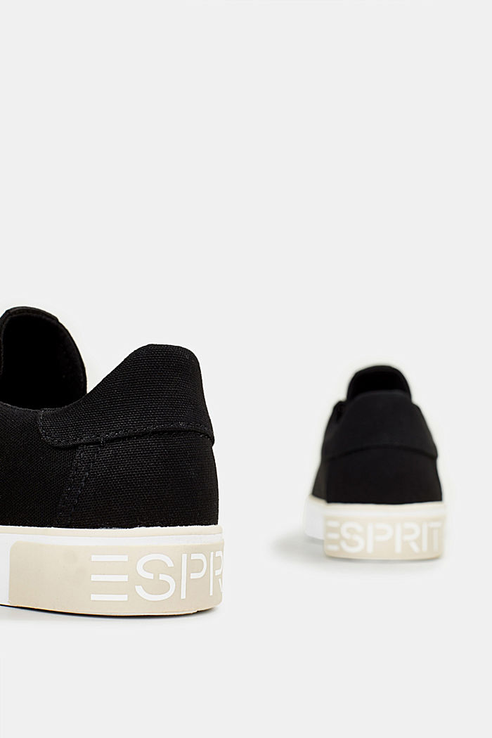 Canvas trainers with a logo sole, BLACK, detail image number 5