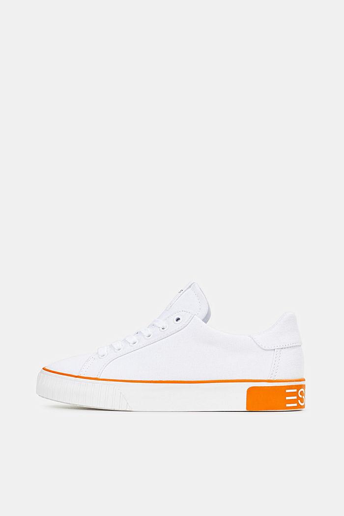 Canvas sneakers met logo op de zool, WHITE, detail image number 0