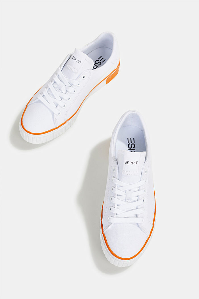 Canvas sneakers met logo op de zool, WHITE, detail image number 1