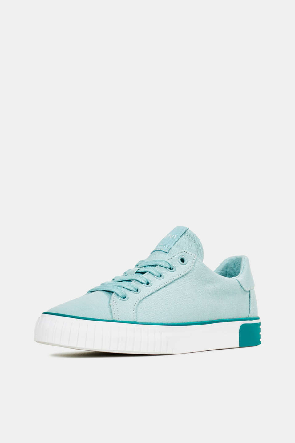 Canvas trainers with a logo sole, LIGHT AQUA GREEN, detail image number 1
