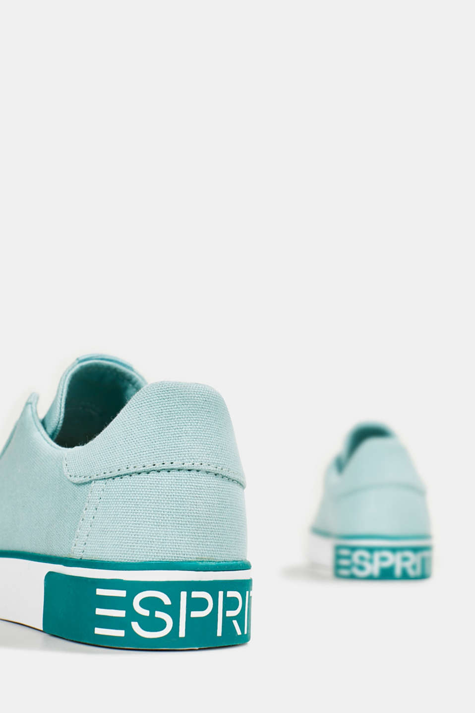 Canvas trainers with a logo sole, LIGHT AQUA GREEN, detail image number 4