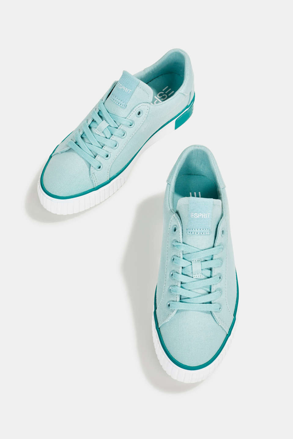 Canvas trainers with a logo sole, LIGHT AQUA GREEN, detail image number 5