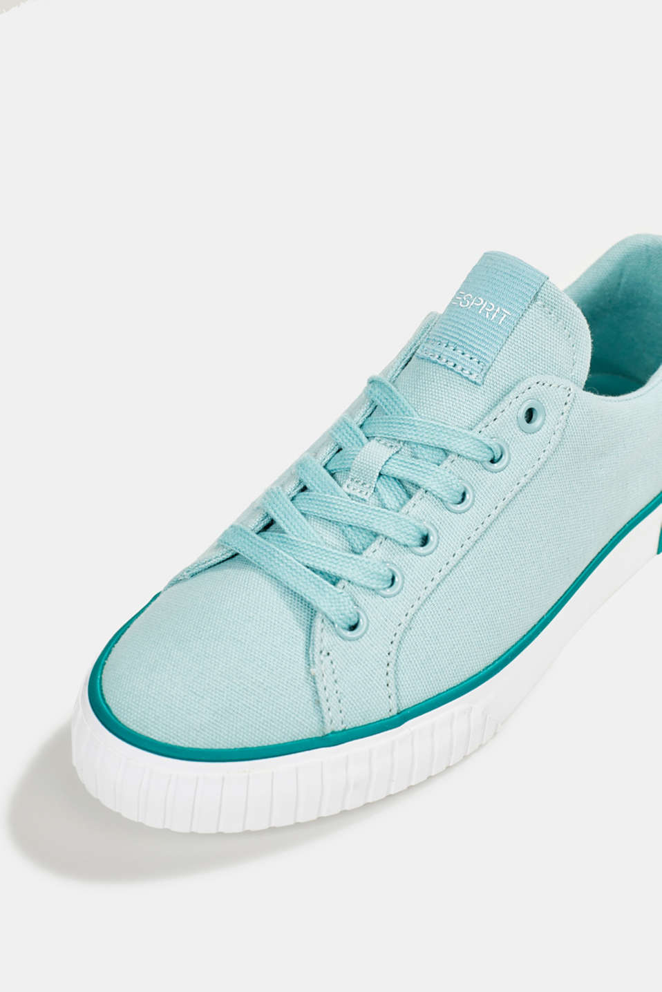 Canvas trainers with a logo sole, LIGHT AQUA GREEN, detail image number 3