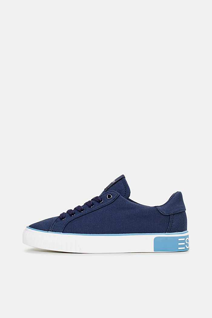 Canvas trainers with a logo sole, NAVY, detail image number 0