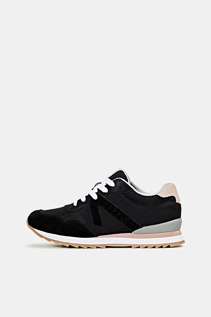 Fashion trainers in mixed materials, BLACK, detail image number 0