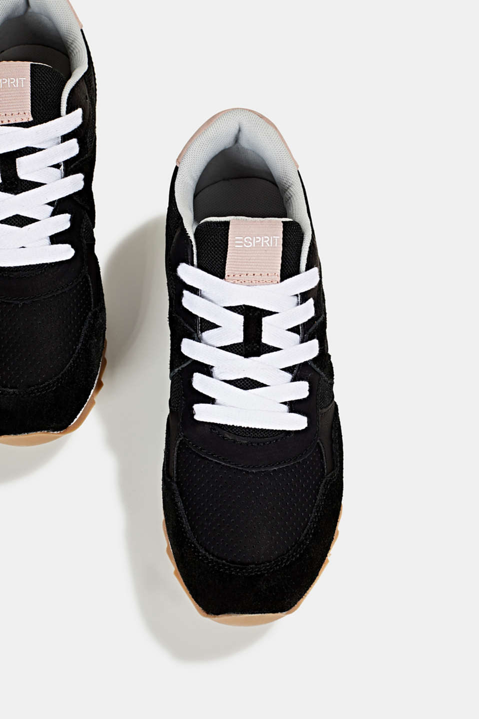 Fashion trainers in mixed materials, BLACK, detail image number 1