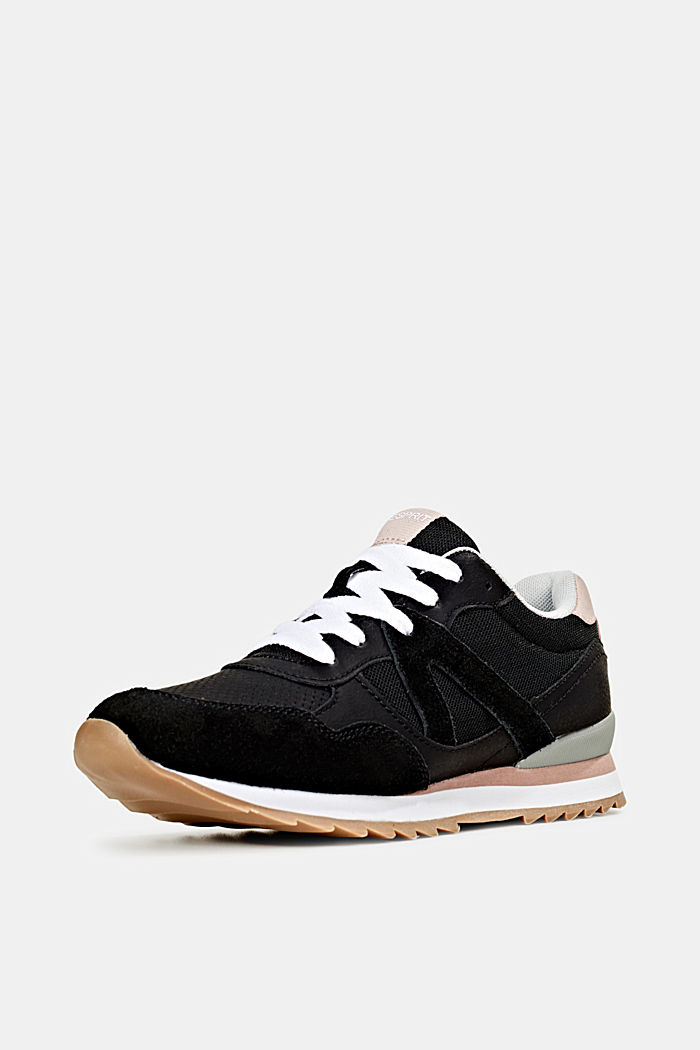 Fashion trainers in mixed materials, BLACK, detail image number 2