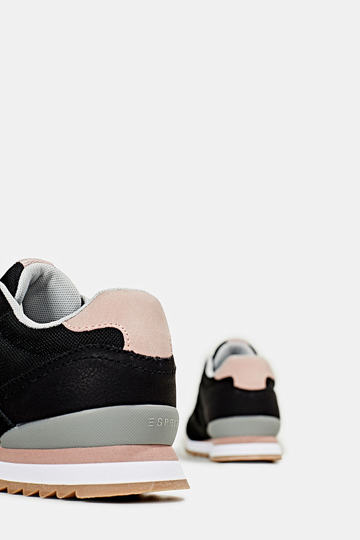 Fashion trainers in mixed materials, BLACK, detail image number 4