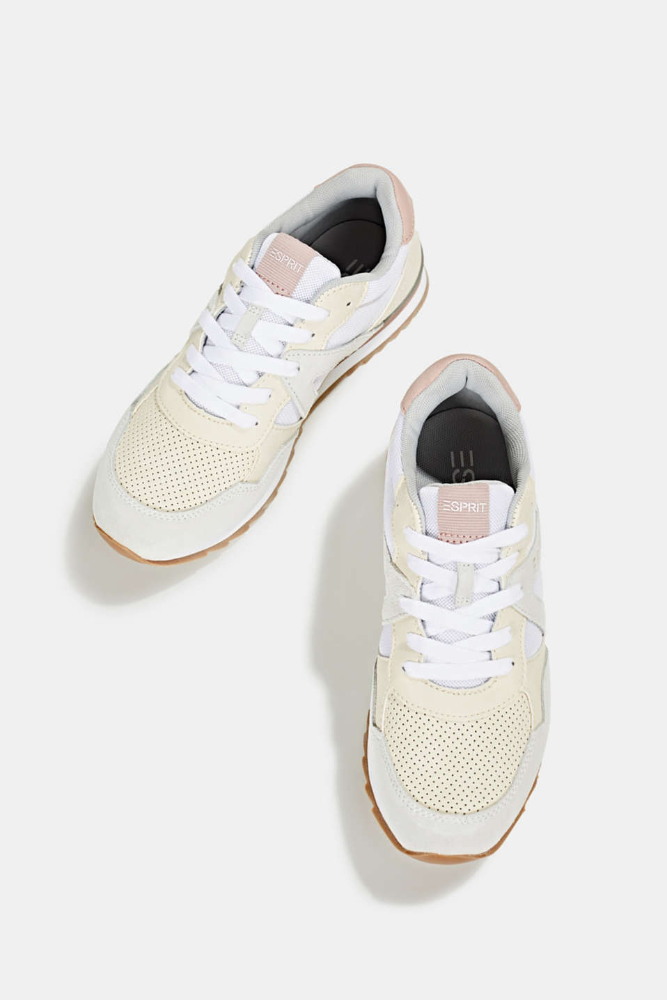 Fashion trainers in mixed materials, OFF WHITE, detail image number 1