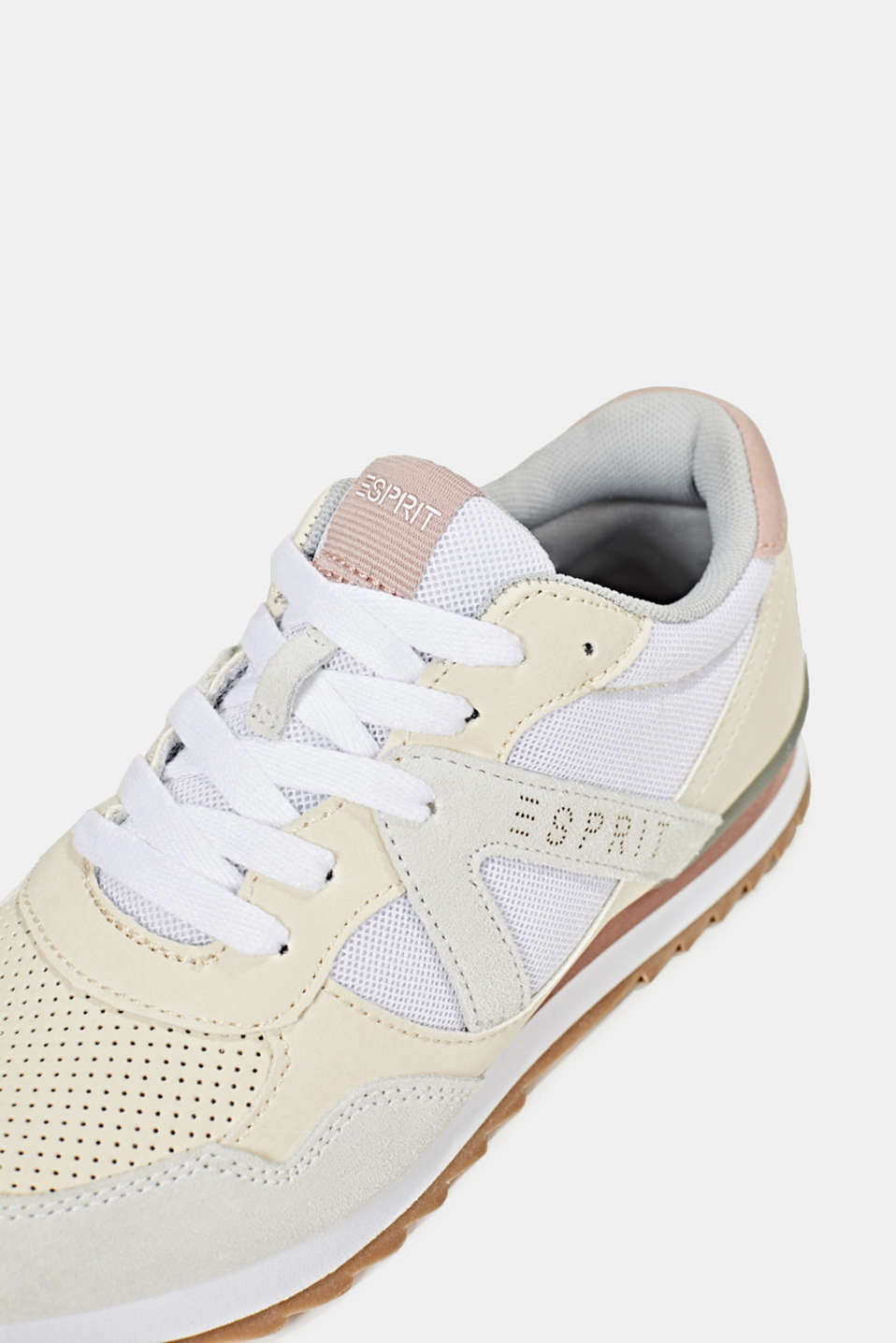 Fashion trainers in mixed materials, OFF WHITE, detail image number 5