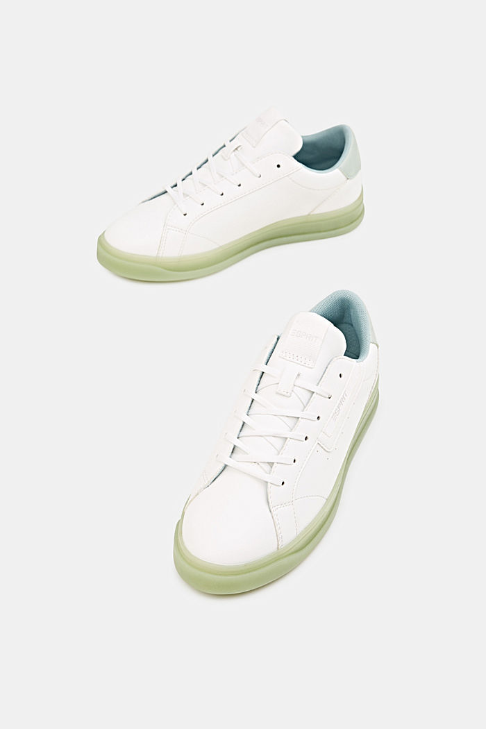 Faux leather trainers, LIGHT AQUA GREEN, detail image number 1