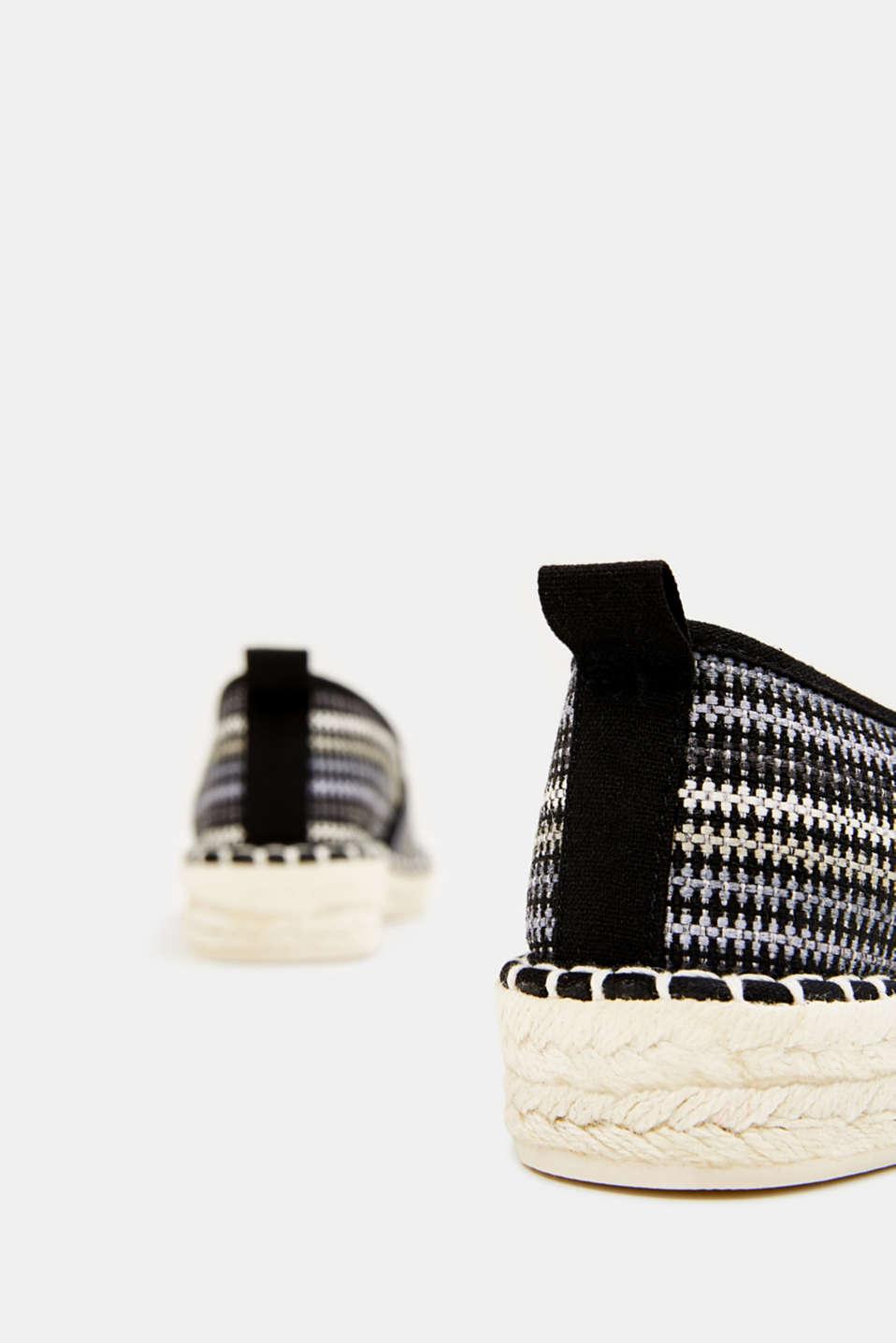 Espadrilles with textured stripes, BLACK, detail image number 4