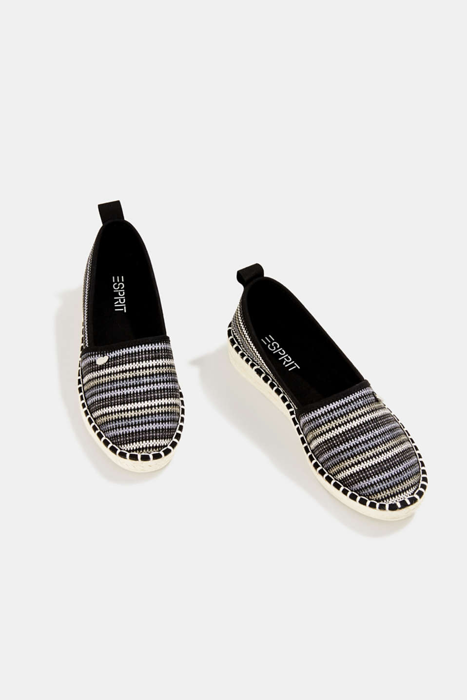 Espadrilles with textured stripes, BLACK, detail image number 5