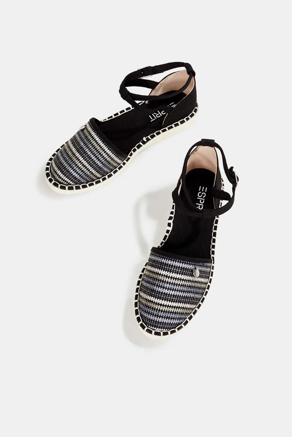 Espadrille sandals with stripes, BLACK, detail image number 1