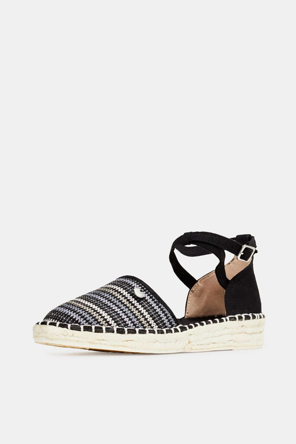 Espadrille sandals with stripes, BLACK, detail image number 2