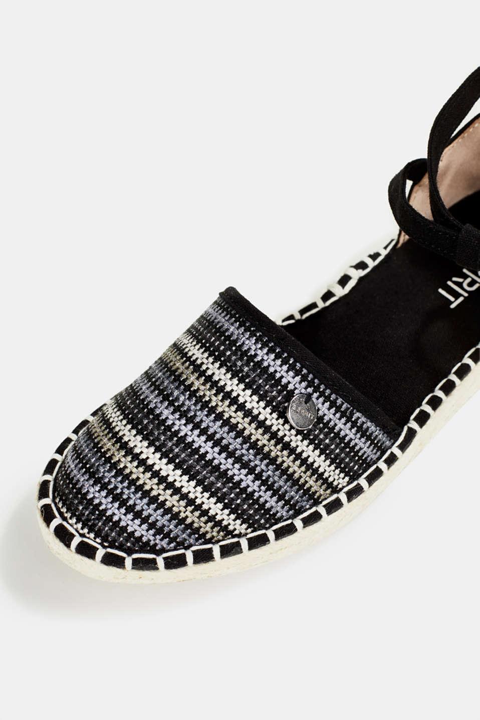 Espadrille sandals with stripes, BLACK, detail image number 4