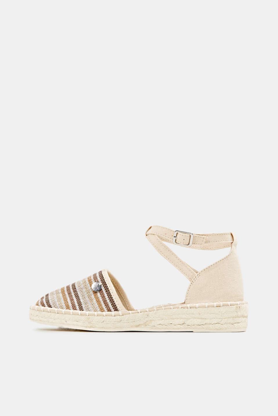 Espadrille sandals with stripes, CREAM BEIGE, detail image number 0